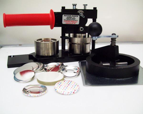 "1.75"" Tecre Button Making Kit 1-3/4 Inch  Machine + Circle Cutter + 1000 Pin Back Button Parts"
