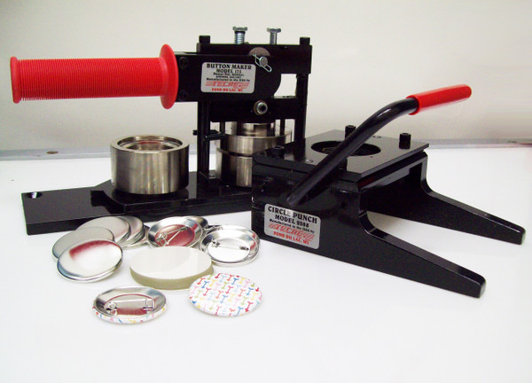 """1.75"""" Tecre Button Making Kit 1-3/4 Inch  Machine + Graphic Punch + 1000 Pin Back Button Parts"""