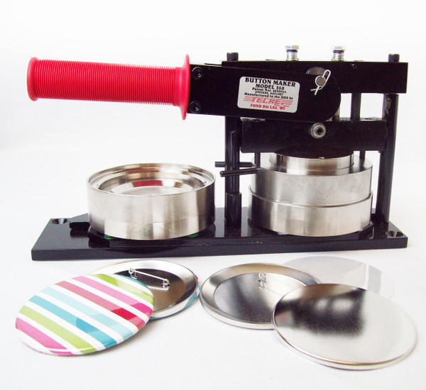 "3.5"" 3-1/2 Inch Button Making Kit - Tecre Button Maker Machine + 500 Pin Back Button Parts"