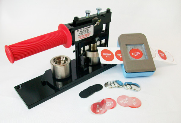 """1"""" Tecre Button Making Kit  - Button Machine, Button Boy Double Level Hand Held Punch, 1000 Plastic Flat Back Button Parts-FREE SHIPPING"""