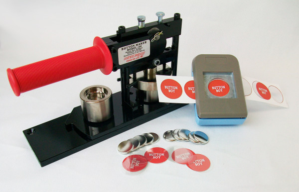 """1"""" Tecre Button Making Kit  - Button Machine, Button Boy Double Level Hand Held Punch, 2000 Metal Flat Back Button Parts-FREE SHIPPING"""