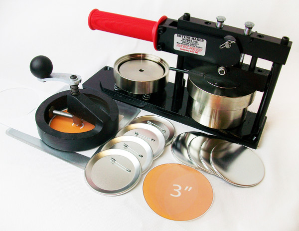 """3"""" Standard Kit - PAPER Button Maker Machine, Fixed Rotary Circle Cutter and 500 Pin Back Button Parts"""