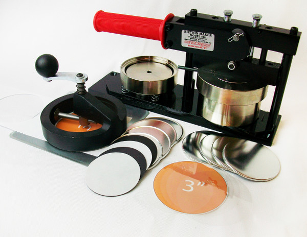"""3"""" Standard Kit - PAPER Button Maker Machine, Fixed Rotary Circle Cutter and 100 Magnet Parts"""