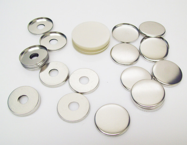 """1.25"""" Tecre Metal FLAT Back Button Parts WITH HOLE 1-1/4 Inch - 250"""