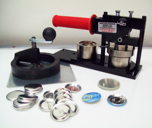 """1.5"""" Tecre FABRIC Button Making Kit  - Machine, Fixed Rotary Circle Cutter, 500 Pin Back Button Parts-FREE SHIPPING"""