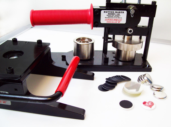 """Tecre Button Making Kit 1"""" - Machine, Graphic Punch, 1000 Plastic Flat Back Button Parts-FREE SHIPPING"""
