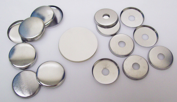 """1"""" Tecre METAL FLAT BACK Button Parts WITH HOLE - 100"""