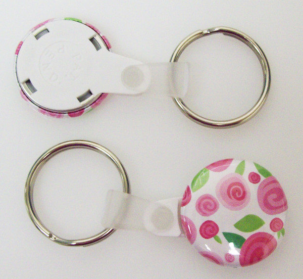 "1"" WHITE Versa Back Split Ring with Plastic Tab Key Chain Complete Button Parts 100 pcs.-FREE SHIPPING"