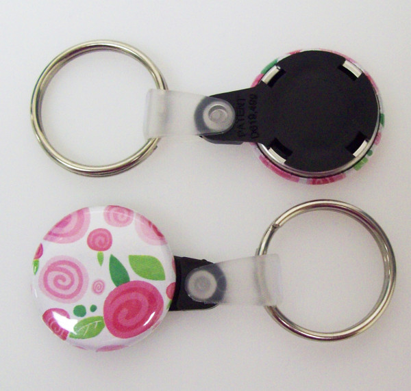 "1"" BLACK Versa Back Split Ring with Plastic Tab Key Chain Complete Button Parts 500 pcs.-FREE SHIPPING"