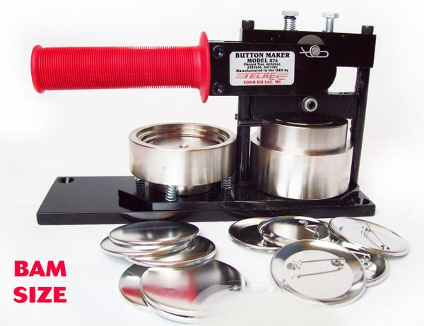 "2-3/8"" BAM Size Kit - Tecre Button Maker + 100 Complete Pin Back Parts"