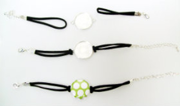 """Bracelet Kits for 1"""" Buttons - 23mm Bezel - Enough to make 50 Bracelets-BLACK"""