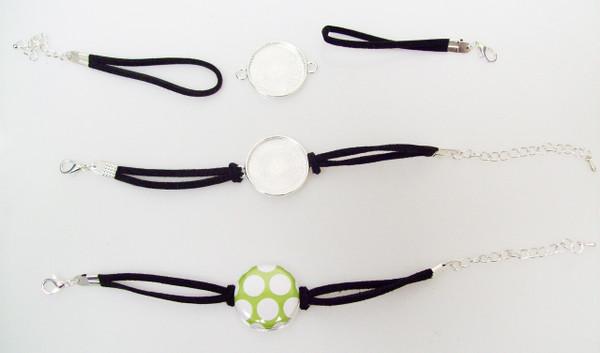 """Bracelet Kits for 1"""" Buttons - 23mm Bezel - Enough to make 100 Bracelets-BLACK"""