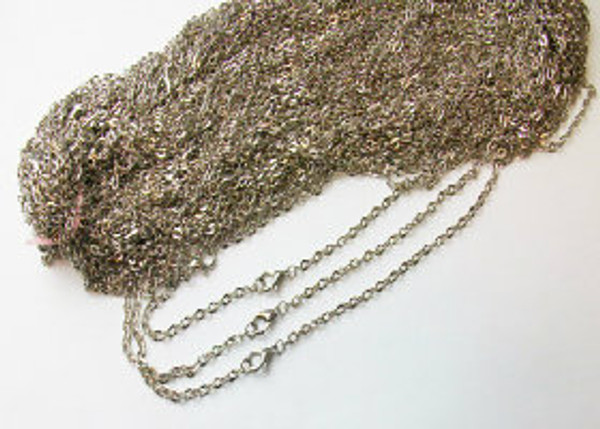 "100  Rolo Antique Silver Chain Necklaces 24"""