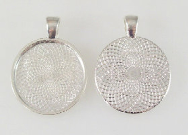 """100 Shiny Silver Pendant Trays 23mm for use with 1"""" Buttons"""