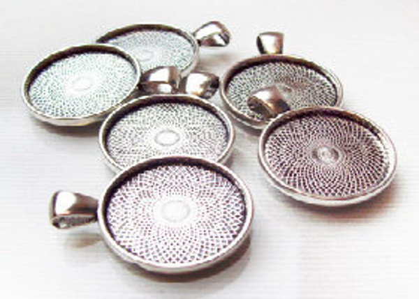 """100 Antique Silver Pendant Trays 23mm for use with 1"""" Buttons"""