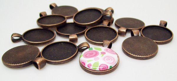 """50 Antique Copper Pendant Trays 23mm for use with 1"""" Buttons"""