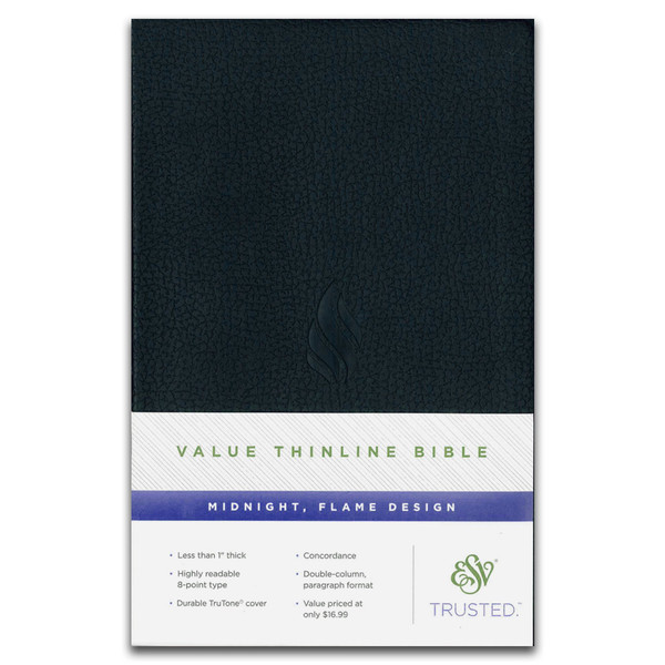 ESV Value Thinline Bible. Front cover (with package flap at bottom)