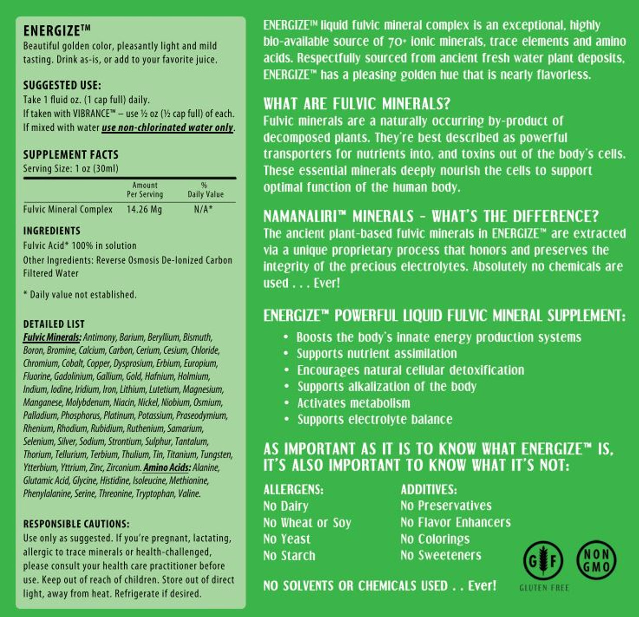 Energize Product Label