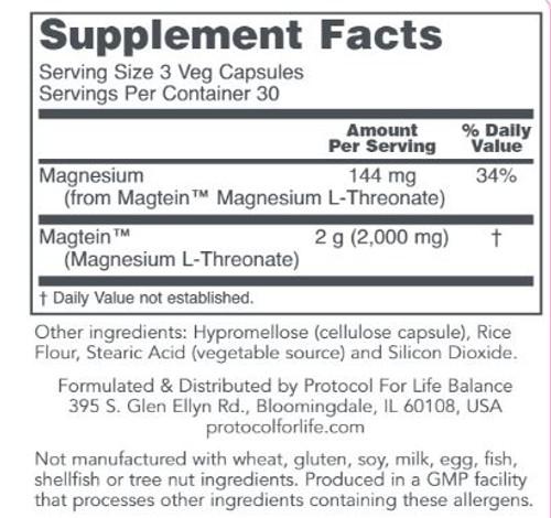 ProtoSorb Magtein Magnesium L-Threonate Label