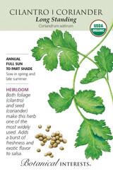 Cilantro Coriander Organic Organic Heirloom