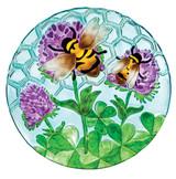 Glass Bird Bath, Busy Bee Days - 18 inch