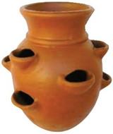 Glazed Ceramic Terra Cotta Strawberry Pot 9 Pocket - 16 inch