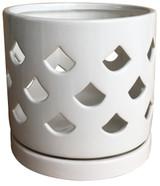 Glazed Ceramic Fan Orchid Pot Glossy Glaze White - 6 inch