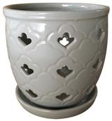 Glazed Ceramic Scallop Orchid Pot Grey - 6 inch