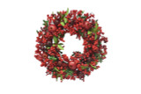 Berry, Pomegranate & Leaf Faux Wreath - 22 Inches