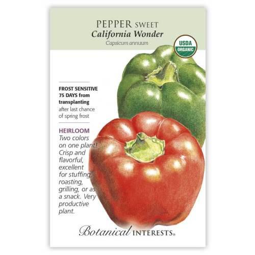 California Wonder Sweet Pepper Seeds Organic Heirloom