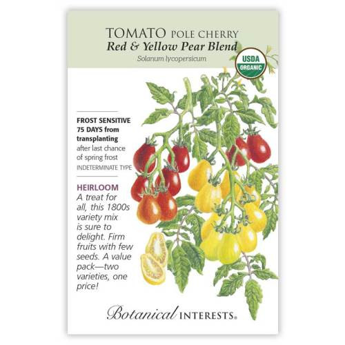 Red & Yellow Pear Blend Pole Cherry Tomato Seeds Organic Heirloom
