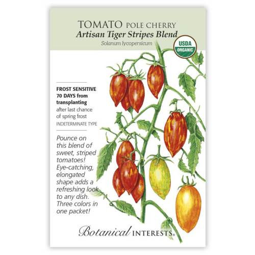 Artisan Tiger Stripes Blend Pole Cherry Tomato Seeds Organic
