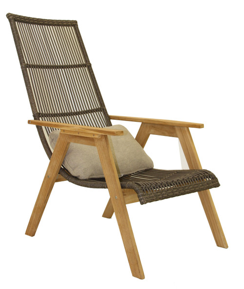 Teak & Resin Wicker Basket Lounger Chair with Cushion