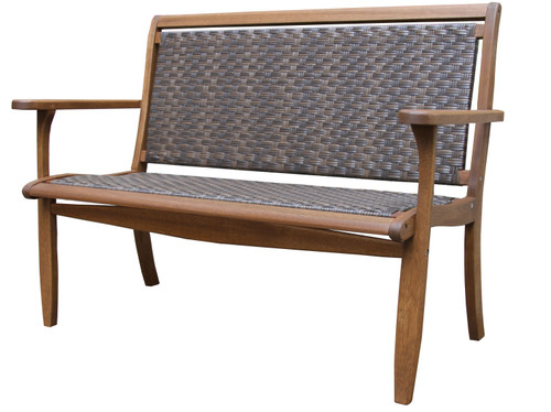 Eucalyptus & Driftwood Grey Resin Wicker Bench