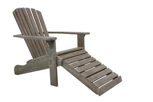 Eucalyptus Grey Wash Adirondack Chair with Ottoman