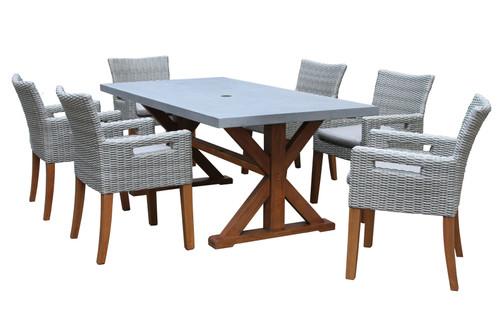 Eucalyptus Rectangular Grey Composite Top 7 Piece Dining Set