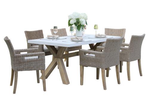 Eucalyptus Rectangular Ivory Composite Top 7 Piece Dining Set