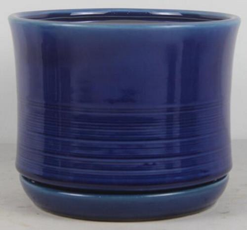 Glazed Ceramic Ismara Tall with Saucer Crackle Blue - 6 inch