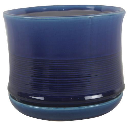 Glazed Ceramic Ismara Tall with Saucer Crackle Blue - 8 inch
