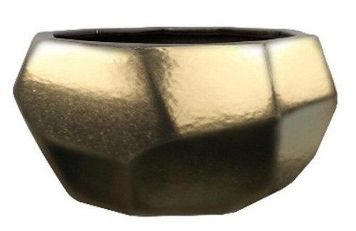 Glazed Ceramic Gem Bowl Copper  - 10 inch