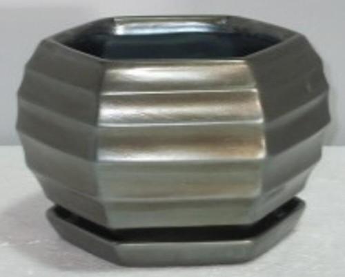 Glazed Ceramic Lantern Bevel Pot Bronze - 7 inch