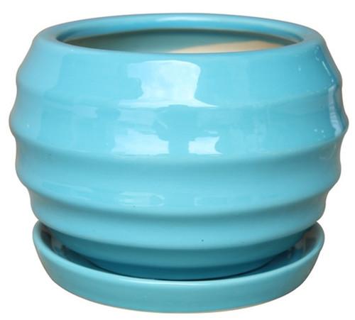 Glazed Ceramic Lantern Ball Pot Tropic Blue - 7 inch
