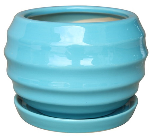 Glazed Ceramic Lantern Ball Pot Tropic Blue - 9 inch