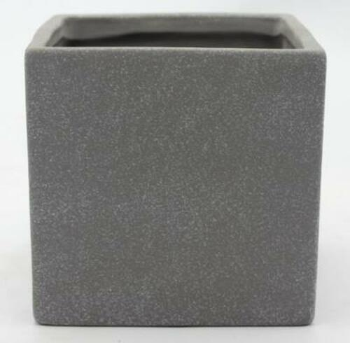 Glazed Ceramic Contemporary Cube Grey - 7 inch