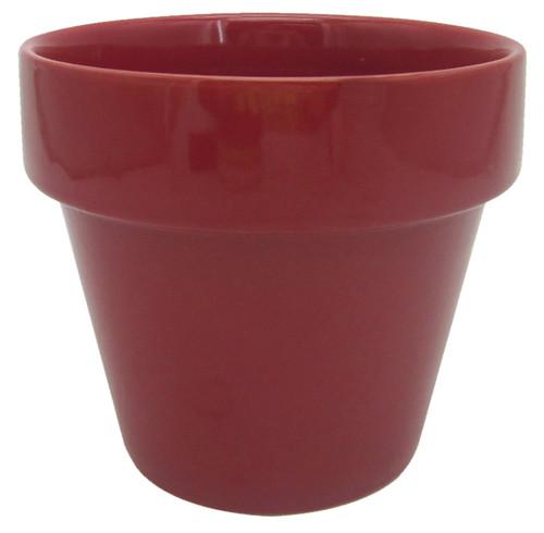 Glazed Ceramic Electric Pot Apple Red - 4 inch
