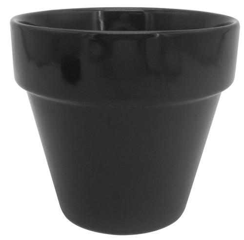 Glazed Ceramic Electric Pot Black - 4 inch