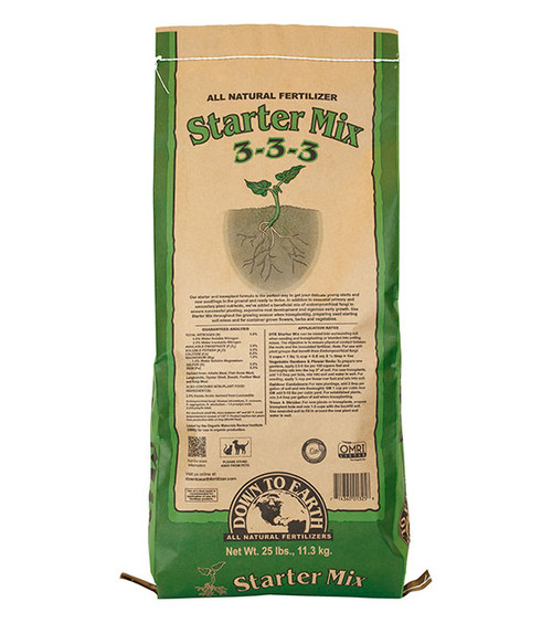Down To Earth Starter Mix 3-3-3 Fertilizer - 25 lb