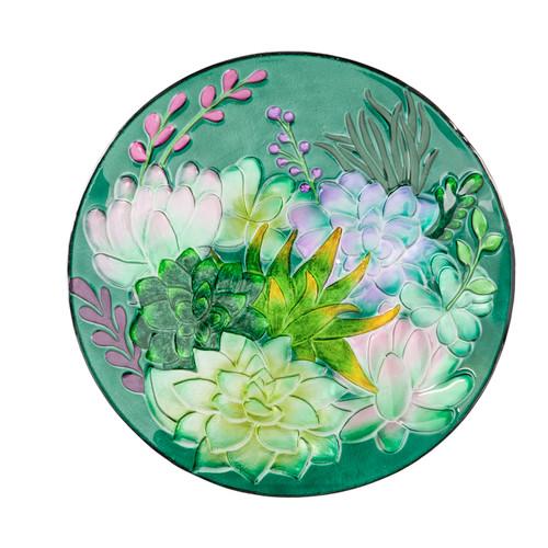 Glass Bird Bath, Succulent - 18 inch