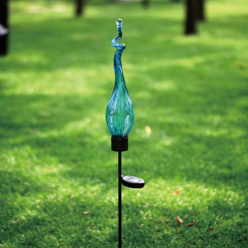Solar Viz Glass Twist Pod Stake Aqua - 44 inch