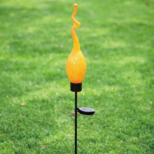Solar Viz Glass Twist Pod Stake Orange - 44 inch